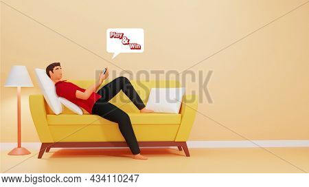 3D Illustration Of Young Man Playing Game On Smartphone At Sofa In Interior View.
