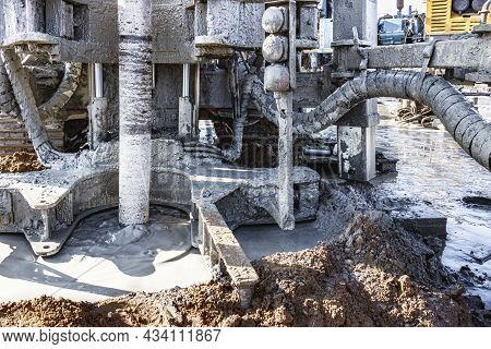 A Drilling Rig Is Working On A Site. Deep Hole Drilling. Geological Exploration Work. Mineral Explor