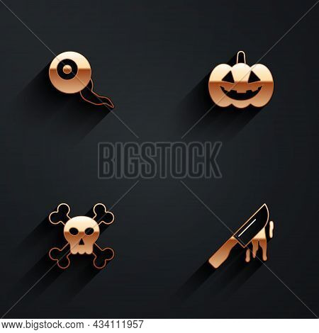 Set Eye, Pumpkin, Skull On Crossbones And Bloody Knife Icon With Long Shadow. Vector