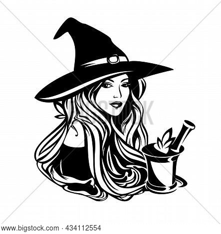 Beautiful Witch With Long Hair Wearing Traditional Hat With Mortar, Pestle And Medical Herbs - Alter