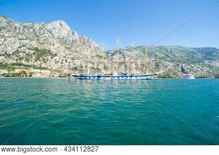 Kotor, Montenegro - 30 June, 2019: View Of The Ship In The Bay Of Kotor, Montenegro