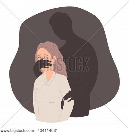 Hand Of Man Covering Womans Mouth. Domestic Violence And Abusing. Stop Violence Against Women Concep