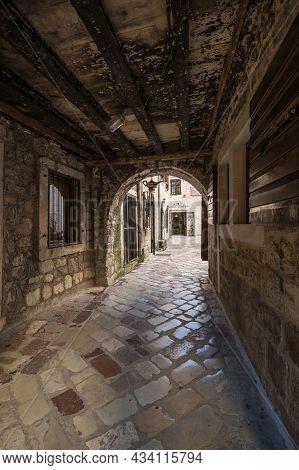 Kotor, Montenegro - 30 June, 2019: View Of The Street In Old Town Of Kotor, Montenegro