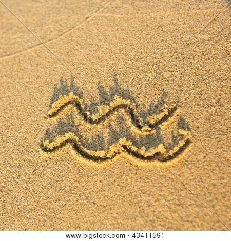 Zodiac sign Aquarius, drawn on the facture beach sand. (zodiac signs series)
