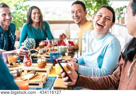 People Group Talking At Coffee Bar Restaurant - Friends Having Fun Together At Rooftop Cafeteria On