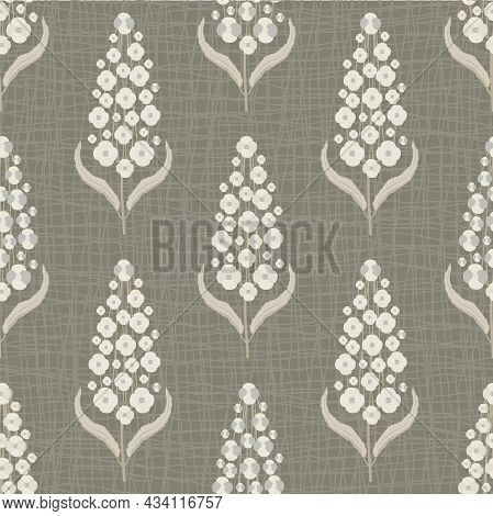 Abstract Buddleia Seamless Vector Pattern Background. Butterfly Bush Duotone Brown Beige Backdrop Of