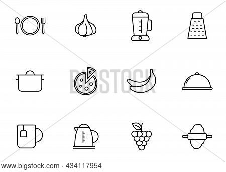Kitchen Line Vector Icons Isolated On White. Kitchen Outline Icon Set For Web And Ui Design, Mobile