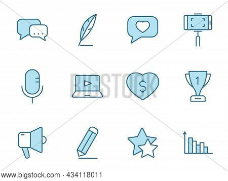 Blog Line Vector Icons In Two Colors Isolated On White Background. Blogger Blue Outline Icon Set For