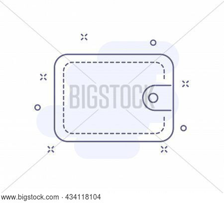 Wallet Outline Vector Illustration Isolated On White. Wallet Purple Line Icon With Light Pink Backgr