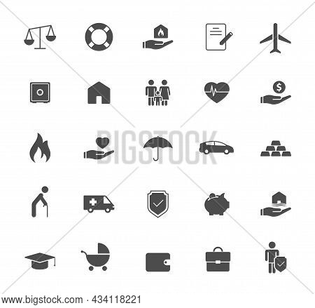 Insurance Silhouette Vector Icons Isolated On White. Insurance Icon Set For Web, Mobile Apps, Ui Des