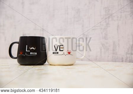 Love Mug Cup White Backgrounds . White And Black Colored Cup I Love You . Mr. Handsome Mrs. Beautifu
