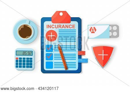 Health Insurance, Medical Insurance. Clipboard With Medical Document, Calculator, Pen And Shield Wit