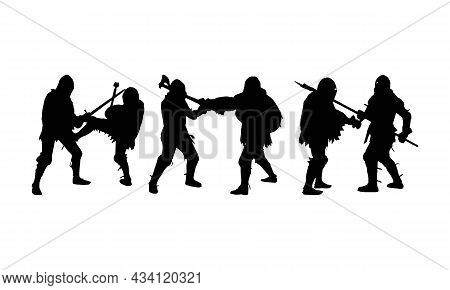 Silhouette Of Fighting Knights Solid Black Line Icon. Fight, Warriors Concept. Trendy Flat Isolated