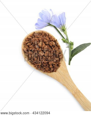 Spoon Of Chicory Granules And Flowers On White Background, Top View