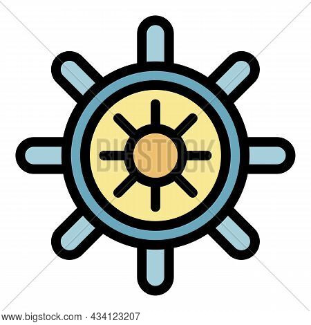 Ship Steering Wheel Icon. Outline Ship Steering Wheel Vector Icon Color Flat Isolated