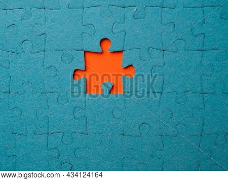 Missing Piece, An Assembled Puzzle With One Lost Element. Search For A Person In A Team, A Concept.
