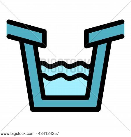 Trough Gutter Icon. Outline Trough Gutter Vector Icon Color Flat Isolated