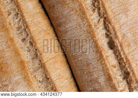 Crispy Ciabattas As Background, Closeup. Fresh Bread