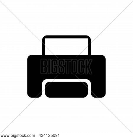 Printer With Paper Sheet Glyph Solid Black Icon. Template Print. Trendy Flat Isolated Symbol, Sign U