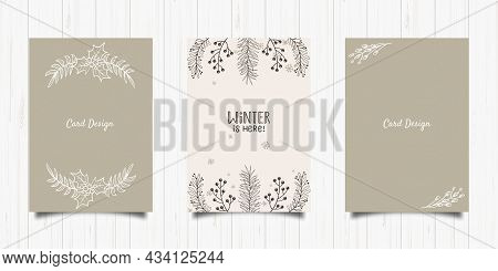 Set Of Winter Handdrawn Plant Holiday Card. Vector Art Illustration Isolated On White Background. Ha