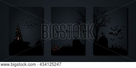 Halloween Party, Set Cards Spooky Dark Background, Silhouettes Of Characters And Scary Bats With Got