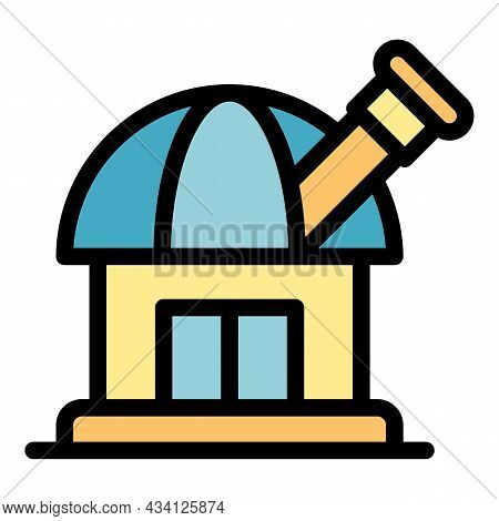Discover Space Observatory Icon. Outline Discover Space Observatory Vector Icon Color Flat Isolated