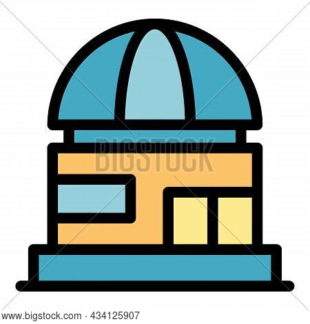 Science Planetarium Icon. Outline Science Planetarium Vector Icon Color Flat Isolated