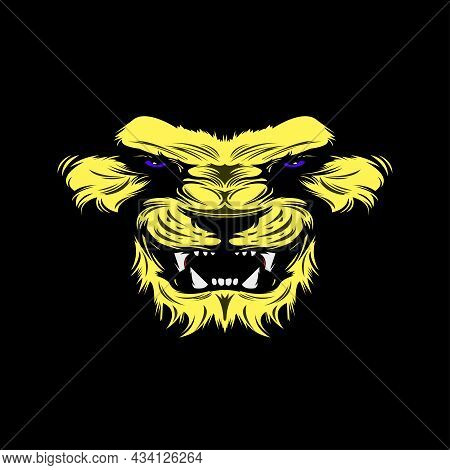 Vector Art Of Yellow Color Tiger Face On Black Color Background, Aggressive Facial Expression Of Tig