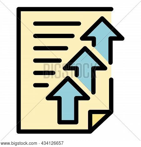 Upload Report Icon. Outline Upload Report Vector Icon Color Flat Isolated