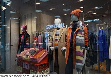 Moscow Russia - September 2021: Showcase Of A Fashionable Clothing Store. Beautiful Comfortable Qual