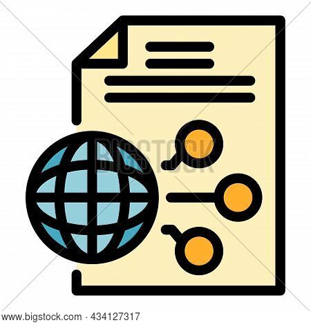 Global Scheme Report Icon. Outline Global Scheme Report Vector Icon Color Flat Isolated