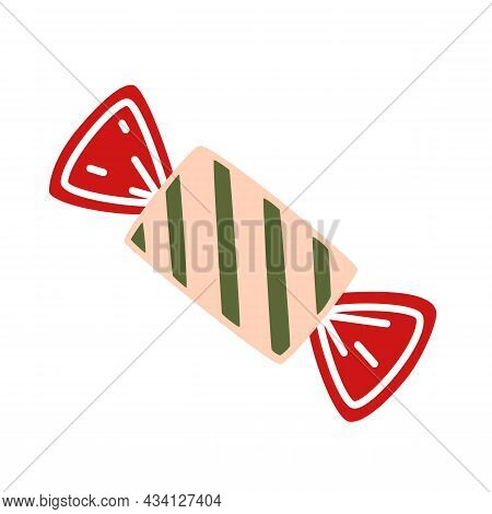 Candy In Striped Wrapper. Vector Decorative Element