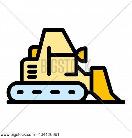 Big Bulldozer Icon. Outline Big Bulldozer Vector Icon Color Flat Isolated