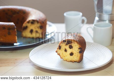 Delicious Portion Of Cake With Chocolate Chips, Homemade Dessert Lactose-free