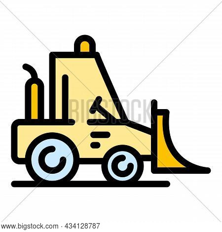 Industry Bulldozer Icon. Outline Industry Bulldozer Vector Icon Color Flat Isolated