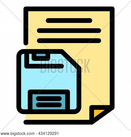 Floppy Disk Paper Icon. Outline Floppy Disk Paper Vector Icon Color Flat Isolated