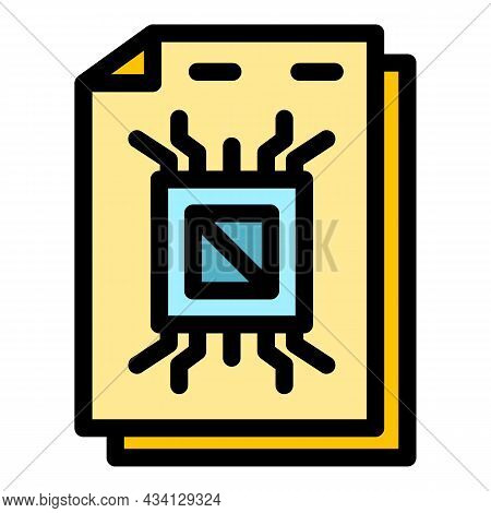 Data Paper Storage Icon. Outline Data Paper Storage Vector Icon Color Flat Isolated