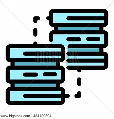 Server Network Icon. Outline Server Network Vector Icon Color Flat Isolated