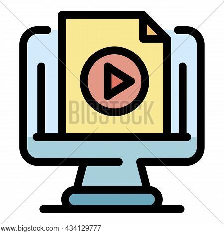Computer Video Record Icon. Outline Computer Video Record Vector Icon Color Flat Isolated