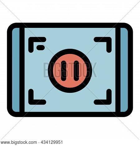 Pause Screen Record Icon. Outline Pause Screen Record Vector Icon Color Flat Isolated
