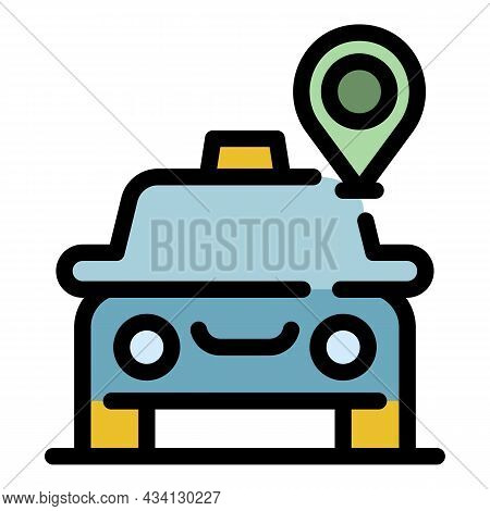 Taxi Car Gps Location Icon. Outline Taxi Car Gps Location Vector Icon Color Flat Isolated