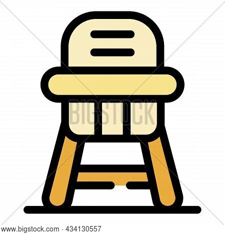 Dinner Feeding Chair Icon. Outline Dinner Feeding Chair Vector Icon Color Flat Isolated