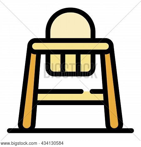 Wood Feeding Chair Icon. Outline Wood Feeding Chair Vector Icon Color Flat Isolated