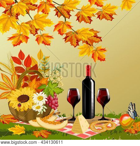 Autumn Picnic On The Lawn.wine, Glasses, Basket With Flowers Under The Autumn Tree In Color Vector I