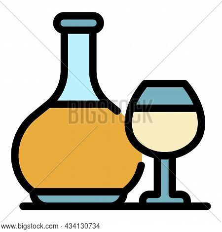Brandy Bottle And Glass Icon. Outline Brandy Bottle And Glass Vector Icon Color Flat Isolated