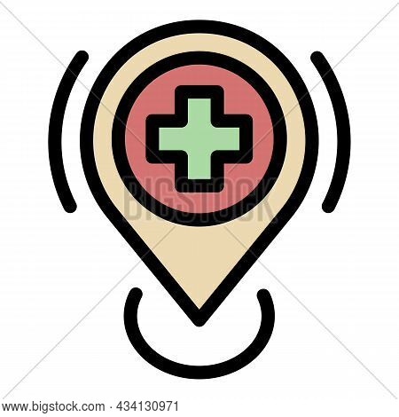 Hospital Location Icon. Outline Hospital Location Vector Icon Color Flat Isolated