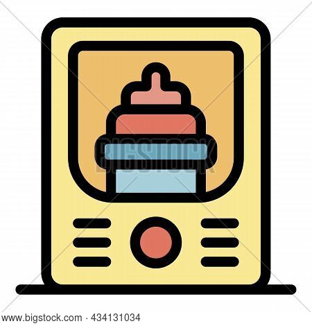 Baby Bottle Sterilizer Icon. Outline Baby Bottle Sterilizer Vector Icon Color Flat Isolated