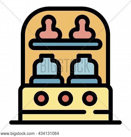 Sterilizing Bottle Machine Icon. Outline Sterilizing Bottle Machine Vector Icon Color Flat Isolated