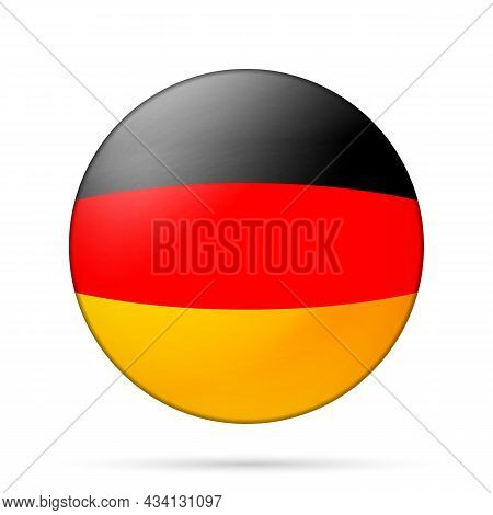 Glass Light Ball With Flag Of Germany. Round Sphere, Template Icon. German National Symbol. Glossy R