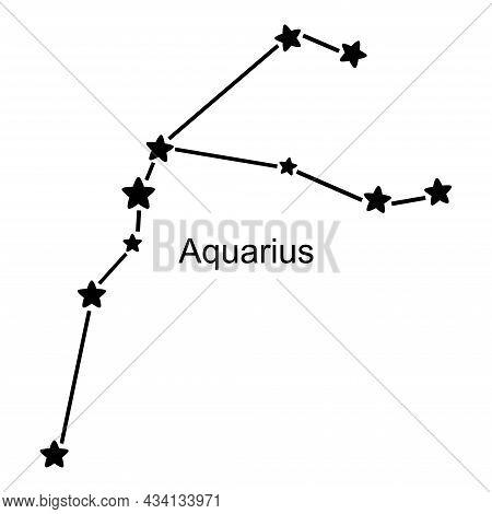 Constellation Of Zodiac Sign Aquarius On White Background, Vector Illustration